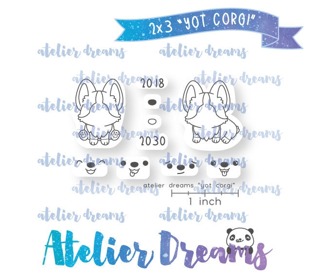 Atelier Dreams YEAR OF THE CORGI Clear Stamp Set adm049 zoom image