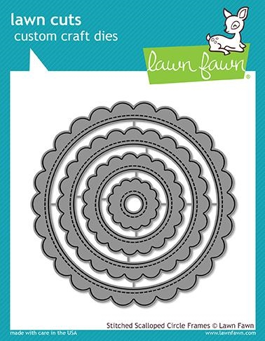 Lawn Fawn STITCHED SCALLOPED CIRCLE FRAMES Die Cuts LF1718 Preview Image
