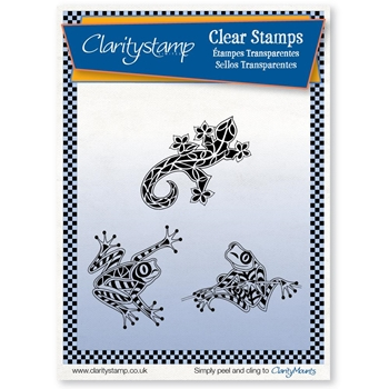 Claritystamp FROGS AND GECKOS Clear Stamps staan10606a5*