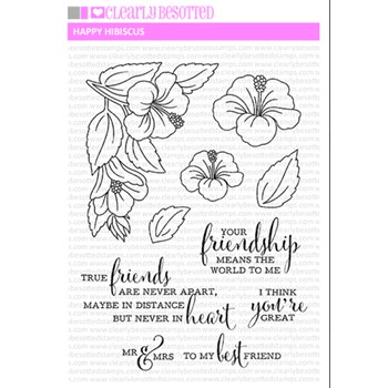 Clearly Besotted HAPPY HIBISCUS Clear Stamps