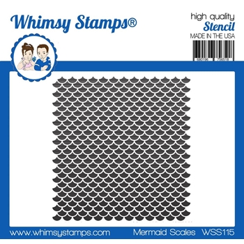 Whimsy Stamps MERMAID SCALES Stencil wss115