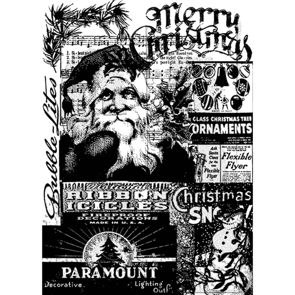 Tim Holtz Cling Rubber ATC Stamp FIRST CHRISTMAS COM026 zoom image