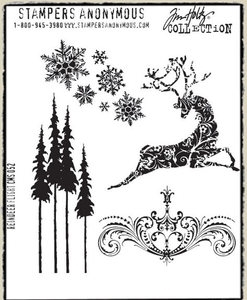 Tim Holtz Cling Rubber Stamps REINDEER FLIGHT CMS052 zoom image