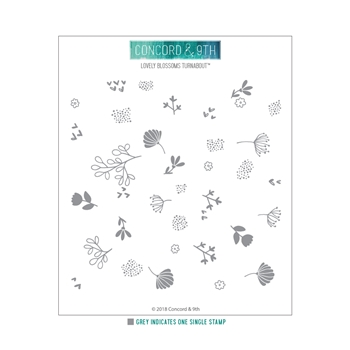 Concord & 9th LOVELY BLOSSOMS TURNABOUT Clear Stamp 10430