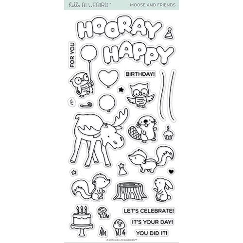 Hello Bluebird MOOSE AND FRIENDS Clear Stamps hb2121 Preview Image