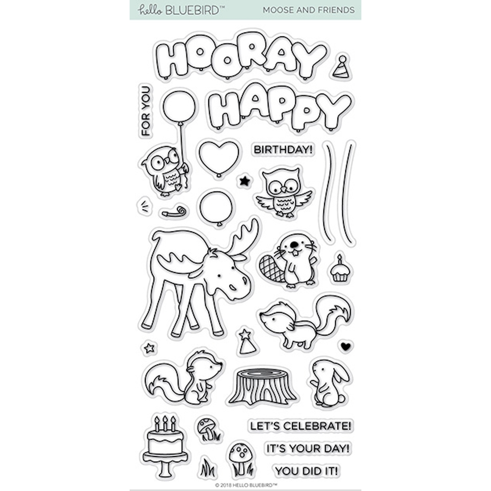Hello Bluebird MOOSE AND FRIENDS Clear Stamps hb2121 zoom image