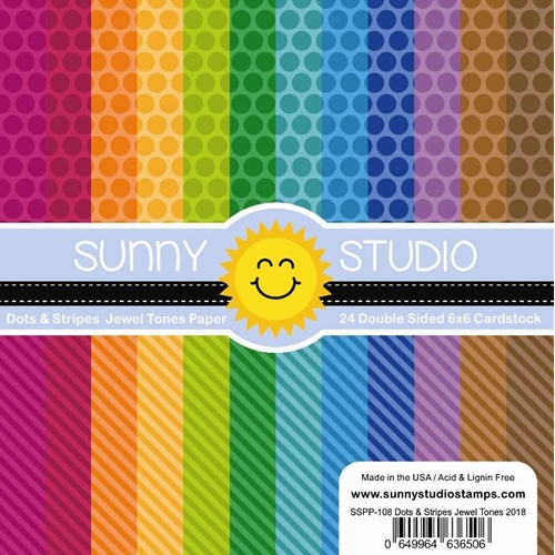 Sunny Studio DOTS AND STRIPES JEWEL TONES Paper Pad SSPP 108 Preview Image