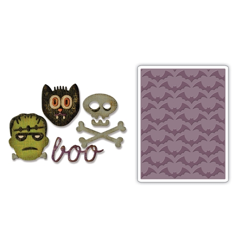 Tim Holtz Sizzix HALLOWEEN Side-Order Thinlits and Embossing Folder 663072 Preview Image