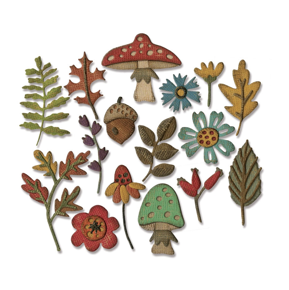 Tim Holtz Sizzix FUNKY FOLIAGE Thinlits Die Set 663087 zoom image