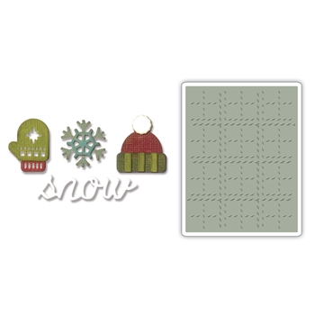 Tim Holtz Sizzix WINTER Side-Order Thinlits and Embossing Folder