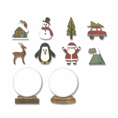 Tim Holtz Sizzix TINY SNOWGLOBES Thinlits Die 663119 Preview Image