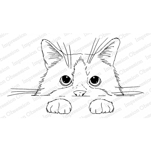 Impression Obsession Cling Stamp PEEKING KITTY 3203-MD Preview Image