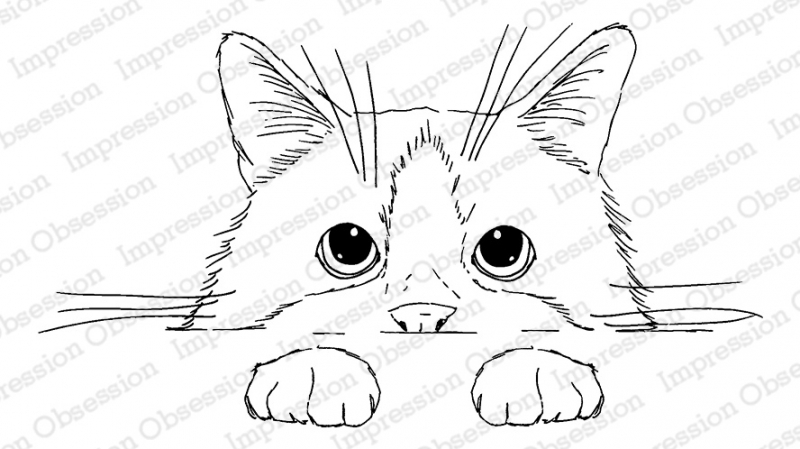 Impression Obsession Cling Stamp PEEKING KITTY 3203-MD zoom image