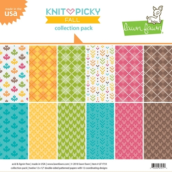Lawn Fawn KNIT PICKY FALL 12x12 Inch Collection Pack LF1733