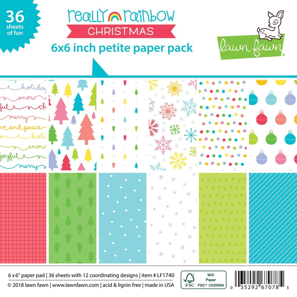 Lawn Fawn Really Rainbow Christmas 6x6  Paper Pack