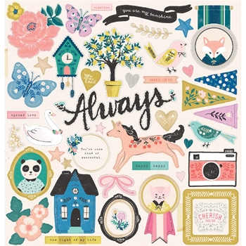 Crate Paper WILLOW LANE 12 x 12 Chipboard Stickers 344484