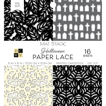 DCWV 6 x 6 BLACK & WHITE FALL PAPER LACE Mat Stack 614650