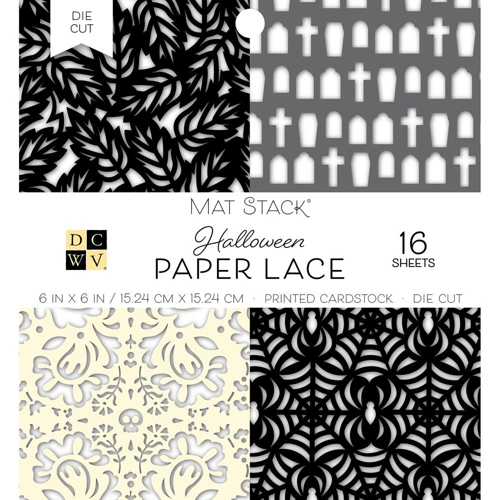 DCWV 6 x 6 BLACK & WHITE FALL PAPER LACE Mat Stack 614650 zoom image