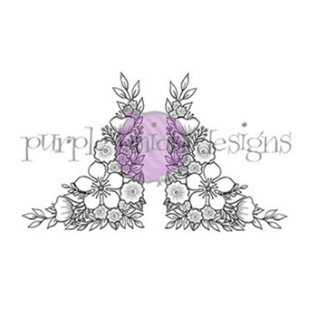 Purple Onion Designs FLORAL CORNERS Cling Stamp pod2222