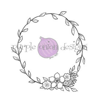 Purple Onion Designs LARGE FLORAL WREATH Cling Stamp pod1016
