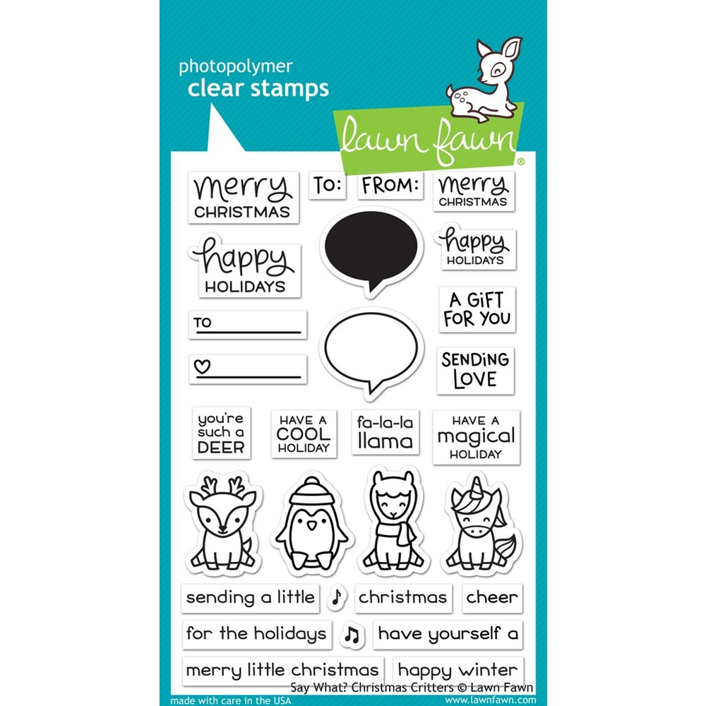 Lawn Fawn SAY WHAT CHRISTMAS CRITTERS Clear Stamps LF1778 zoom image
