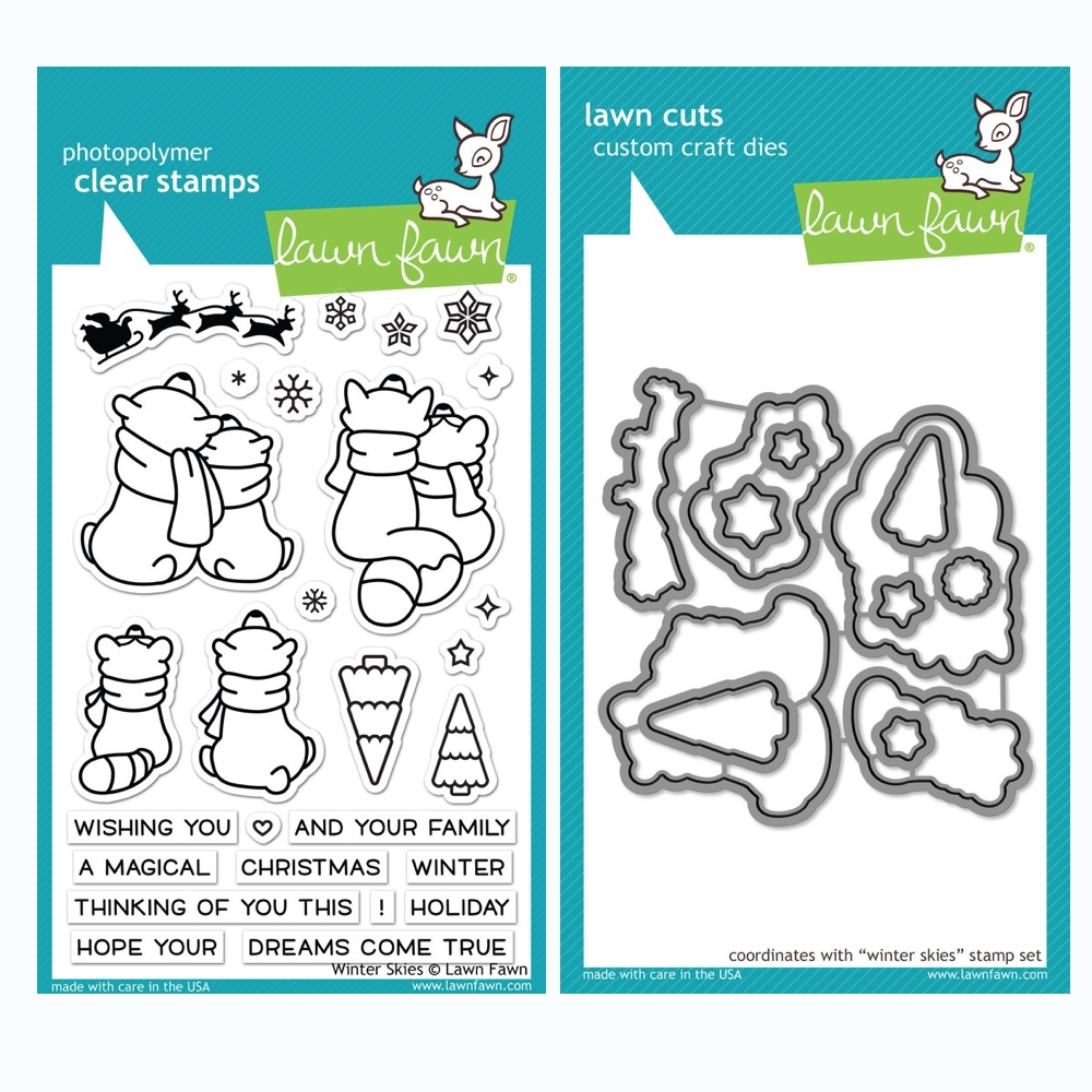 Lawn Fawn SET WINTER SKIES Clear Stamps and Dies BLFWS zoom image