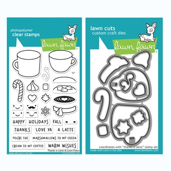 Lawn Fawn SET THANKS A LATTE Clear Stamps and Dies BLFTAL