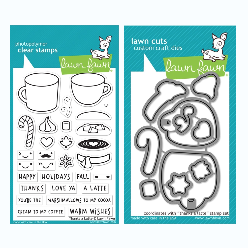 Lawn Fawn SET THANKS A LATTE Clear Stamps and Dies BLFTAL zoom image