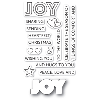 Poppy Stamps TIDINGS OF JOY Die and Stamp Set cl467