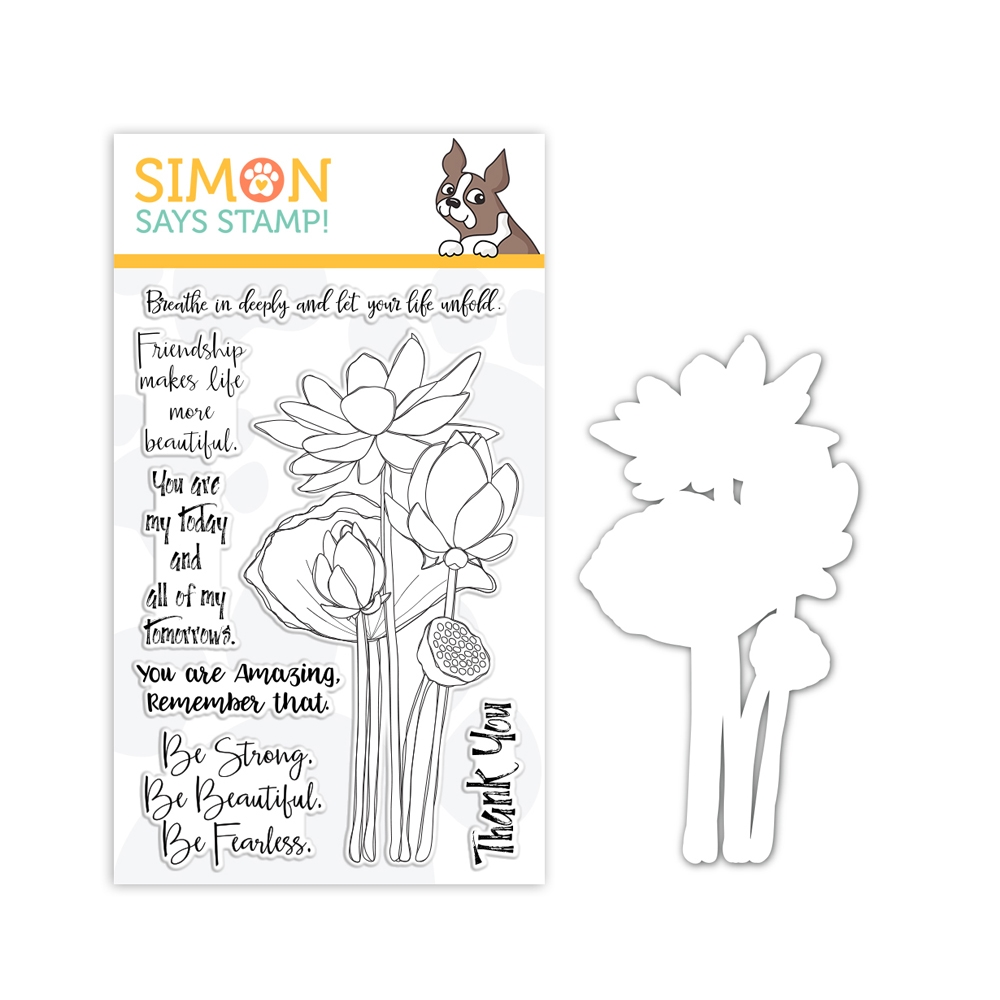Simon Says Stamps And Dies SKETCH LOTUS FLOWERS set328slf Friendly Frolic zoom image