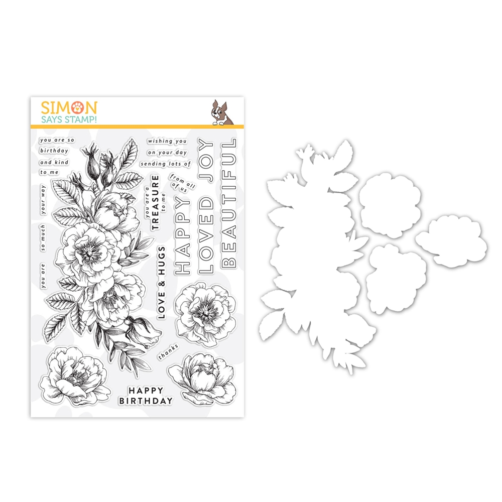 Simon Says Stamps And Dies BEAUTIFUL FLOWERS set330bf Friendly Frolic zoom image