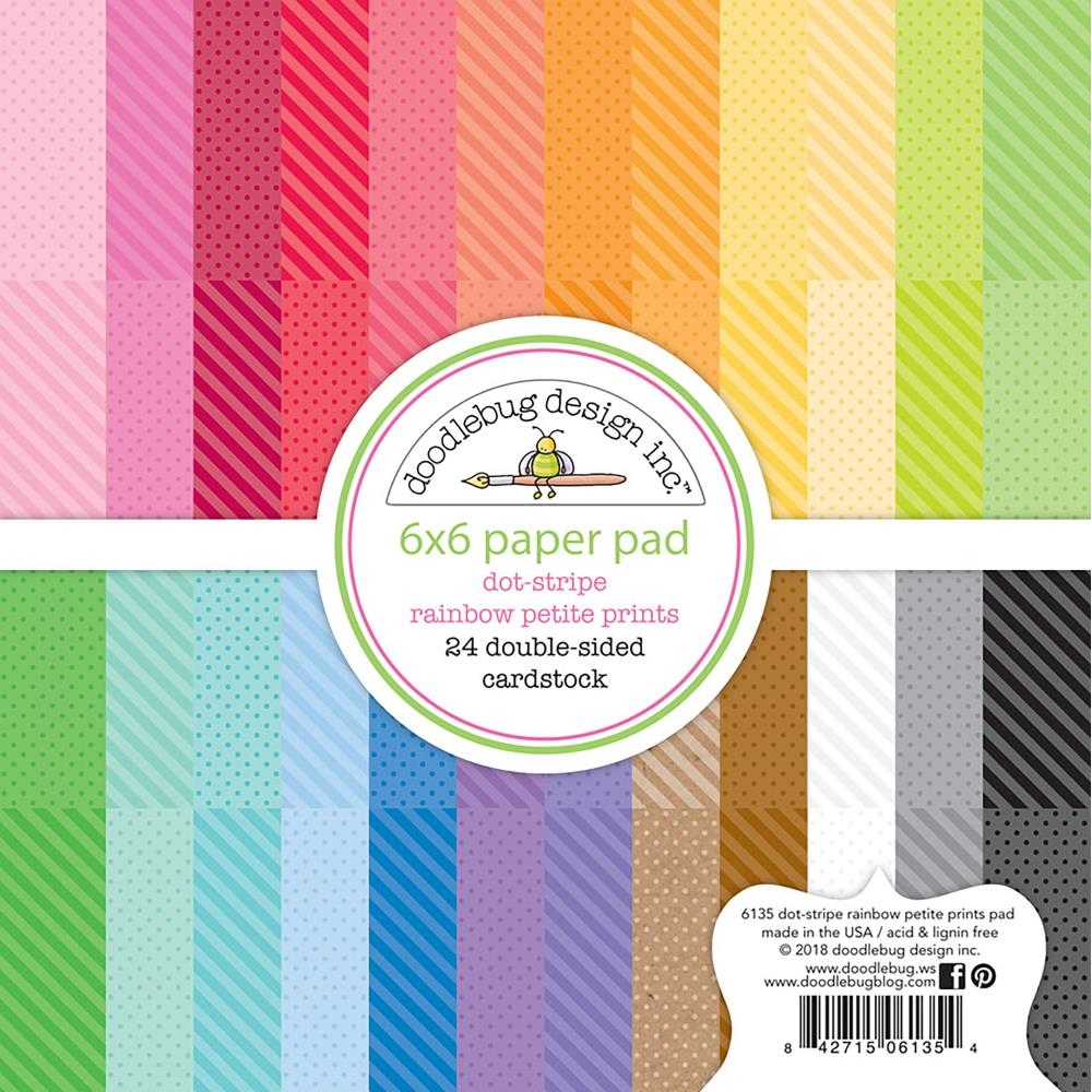Doodlebug DOT STRIPE RAINBOW PETITE PRINTS 6x6 Inch Paper Pad 6135 zoom image