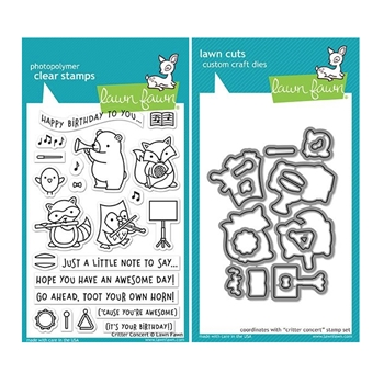 Lawn Fawn SET CRITTER CONCERT Clear Stamps and Dies MLFCC