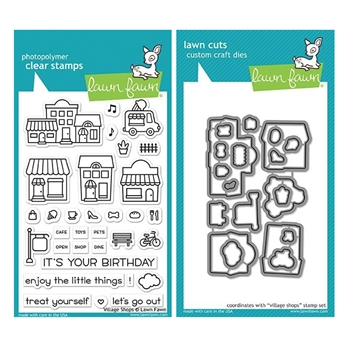 Lawn Fawn SET VILLAGE SHOPS Clear Stamps and Dies MLFVS