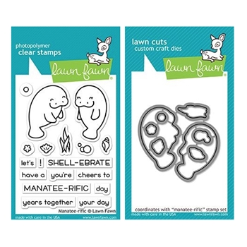 Lawn Fawn SET MANATEE-RIFFIC Clear Stamps and Dies MLFMT