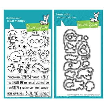 Lawn Fawn SET YOU ARE SUBLIME Clear Stamps and Dies MLFYAS