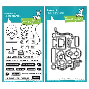 Lawn Fawn SET SCREEN TIME Clear Stamps and Dies MLFST