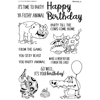 Joy Clair PARTY ANIMALS Clear Stamp Set clr02186