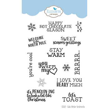 Elizabeth Craft Designs Clear Stamps CUTE WINTER SENTIMENTS cs102*