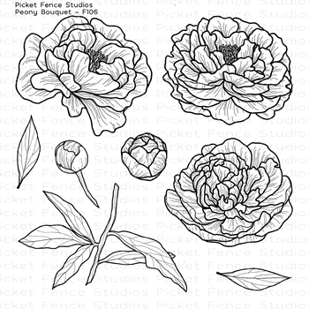 Picket Fence Studios PEONY BOUQUET Clear Stamp Set f106