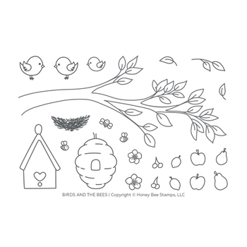 Honey Bee BIRDS AND THE BEES Clear Stamp Set hbst-122