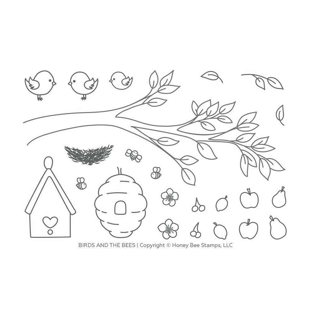 Honey Bee BIRDS AND THE BEES Clear Stamp Set hbst-122 zoom image