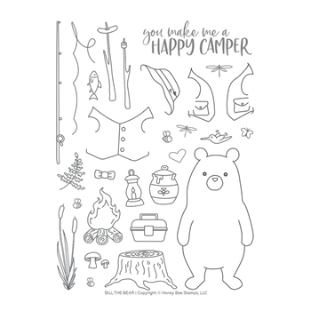 Honey Bee BILL THE BEAR Clear Stamp Set hbst-123*
