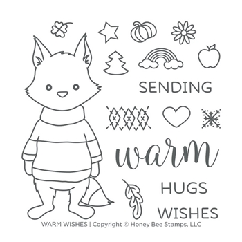 Honey Bee WARM WISHES Clear Stamp Set hbst-125