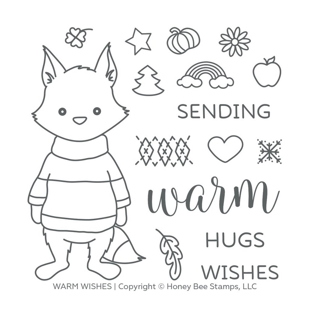 Honey Bee WARM WISHES Clear Stamp Set hbst-125 zoom image