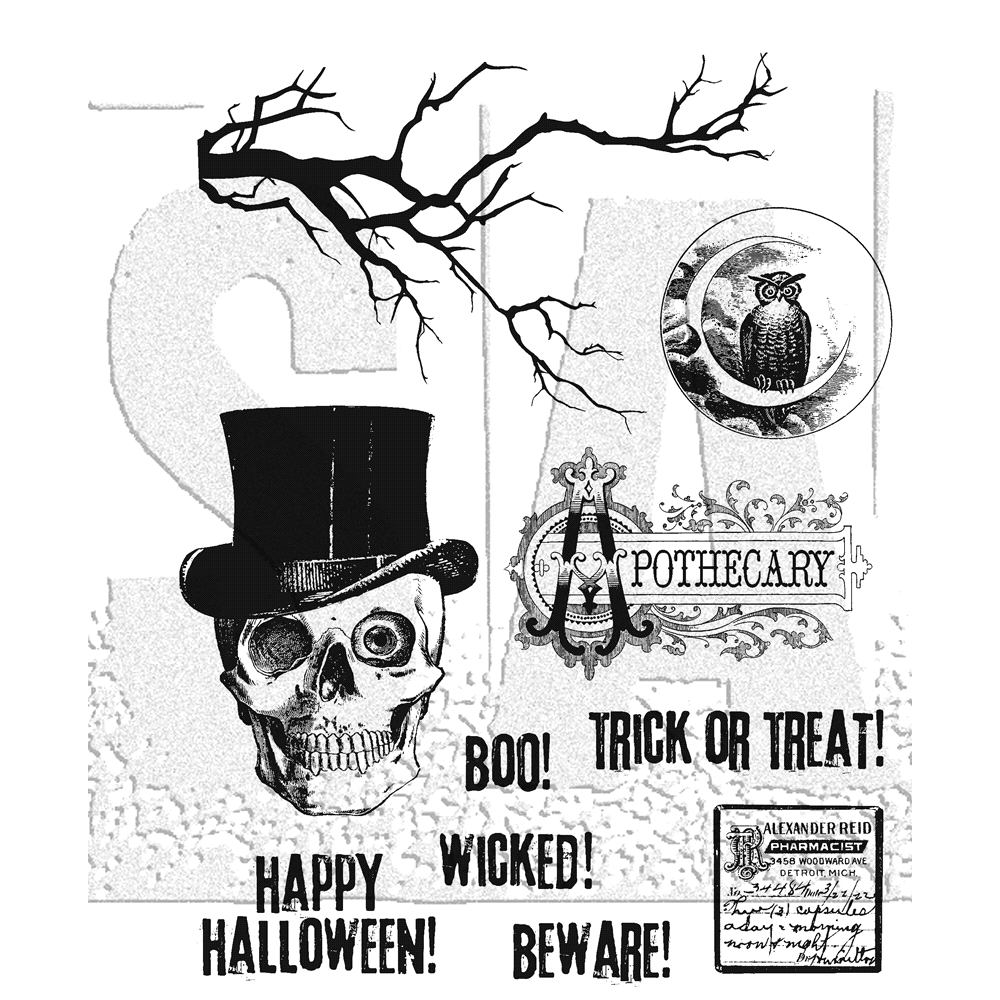 Tim Holtz Cling Rubber Stamps MR BONES CMS345 zoom image
