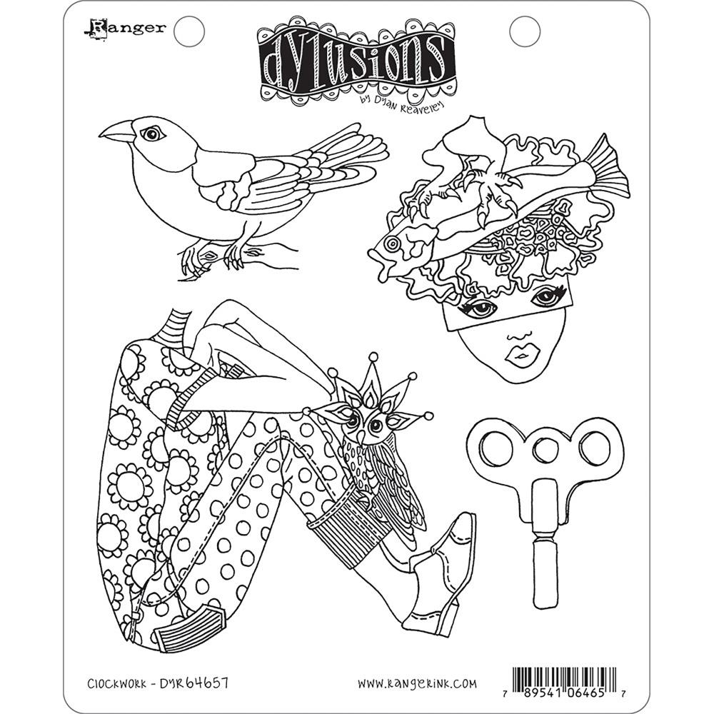 Dyan Reaveley CLOCKWORK Stamp Set Dylusions Cling Unmounted Rubber DYR64657 zoom image