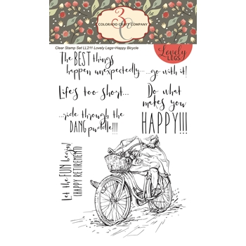 Colorado Craft Company Lovely Legs HAPPY BICYCLE Clear Stamps LL211*
