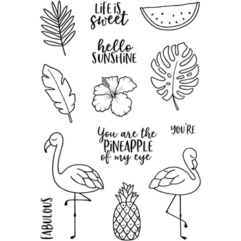 Jane's Doodles TROPICAL FUN Clear Stamp Set 743405