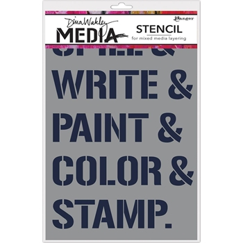 Dina Wakley WHAT DO WE DO Media Stencil MDS63216